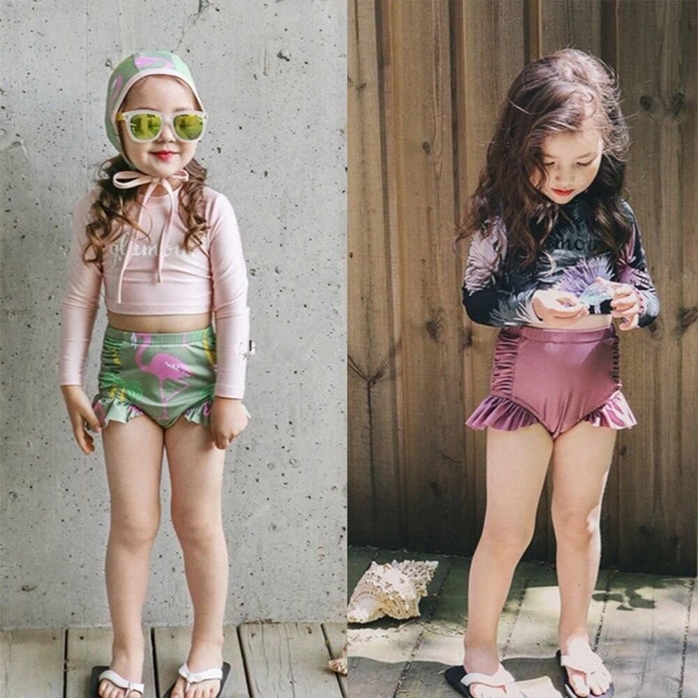 Little&Big Girl's Long Sleeve Rashguard UPF 50+ Sun Protective Swimsuit Ruffle Swimwear Kids Beach Wear Swimming Suit With Hat