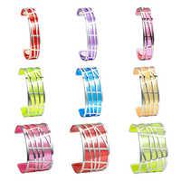 Bracelet & Bracelet en acier inoxydable avec Manchette géométrique en Argent Legenstar pour femme, Manchette réversible en cuir Transparent Pulseiras