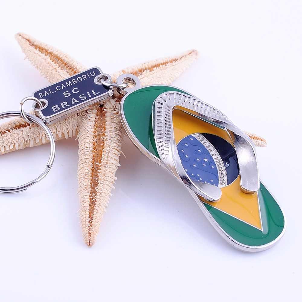 Venta caliente zapatilla brasileña llavero creativo encanto llavero anillo accesorios colgante para hombres mujeres joyería de moda regalo