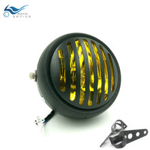 купить Cafe Racer Front Light Chrome Black Motorcycle Headlight Head Light Lamp  For Harley /Bobber /Chopper /Touring дешево