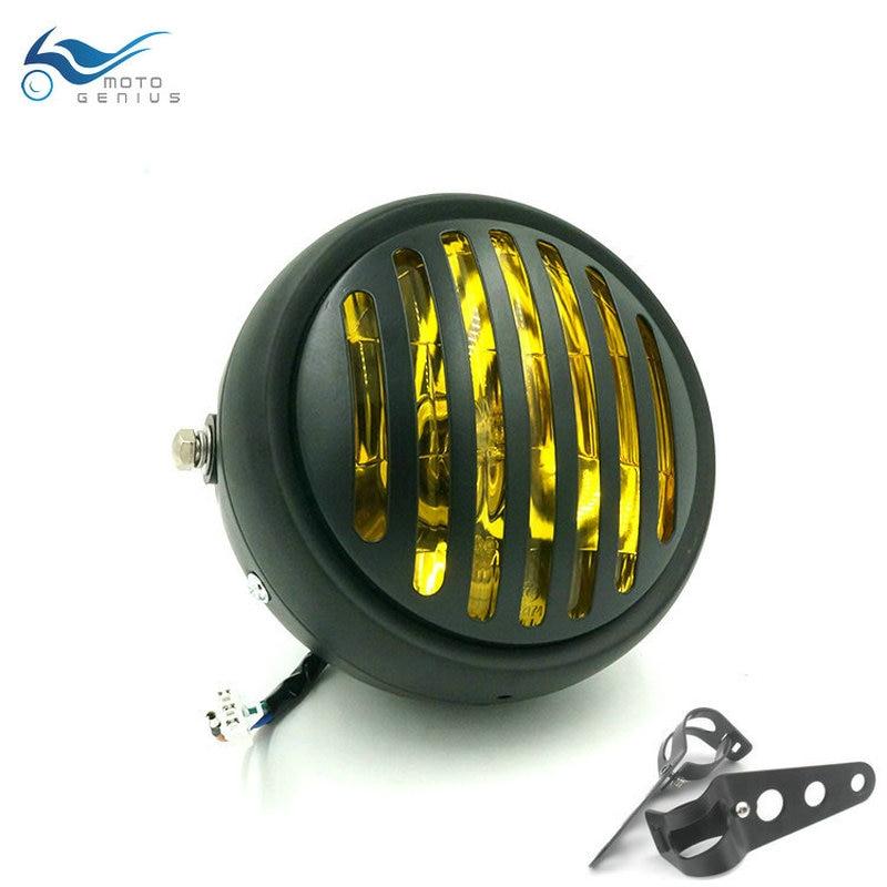 Cafe Racer Motorbike Front Light Motorcycle Headlight Chrome Black Head Light For Harley /Bobber /Chopper /Touring