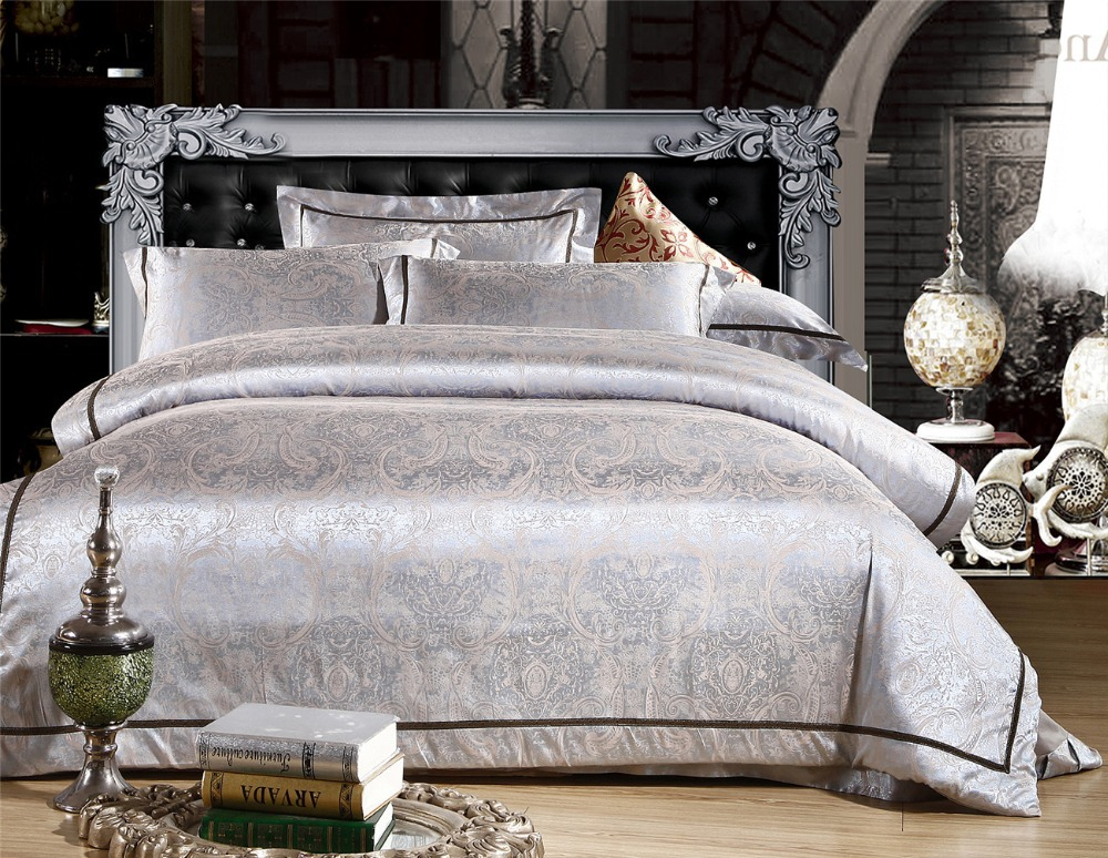 Silver Golden Bed Set Embroidery Satin Comforter Duvet Quilt Cover Sheet Tencel And Cotton Blended Queen Purple Bedding In Sets From Home