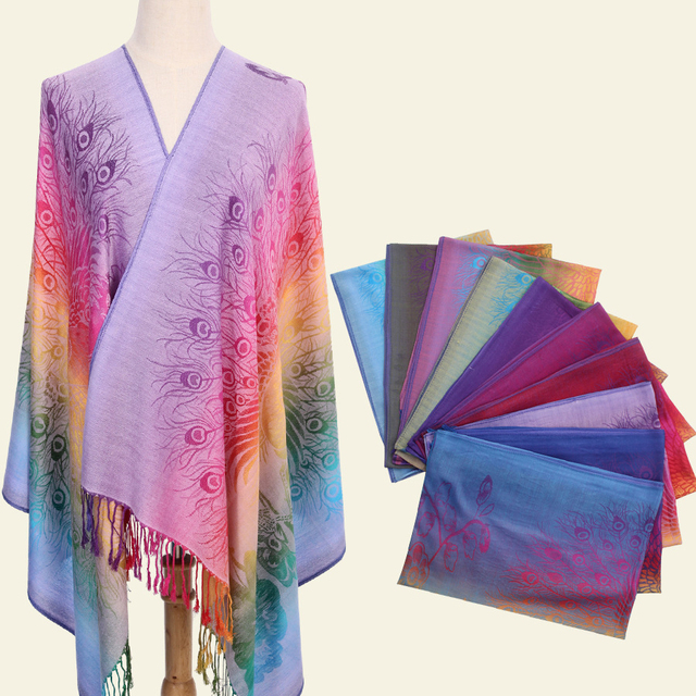 TNINE 2018 Ethnic Winter Warm PASHMINA Shawl Scarf Women Jacquard Peacock Gradient Scarf Shawl Foulard India Long Scarfs Echarpe