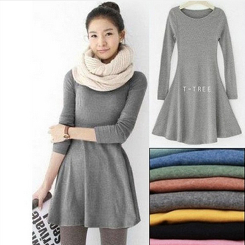 Fashion Clothes Vestidos Women Dress 2019 Spring Autumn Winter Dress Female 100% Cotton O-Neck Long Sleeve Dress Woolen Dresses