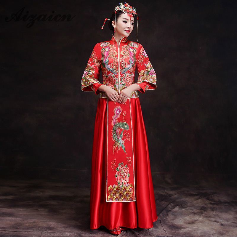 Qipao Wedding Gown: Traditional Gown Bride Cheongsam 2018 New Chinese Wedding