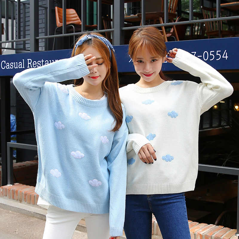 Korean Women Kawaii Stereo Blue Sky Cloudy Sweater For Women's Harajuku Thick Knitted O neck Female Pullover Knitted Ulzzang