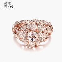 HELON Fine Jewelry Flower Solid 10K Rose Gold 5.5mm Round Morganite Diamonds Ring Match Band Engagement Wedding Diamonds Ring