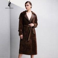 Модные женские туфли дубленок, коричневый пальто с мехом, костюм воротник Настоящее пальто с мехом, регулируемые манжеты, пальто из меха Зим