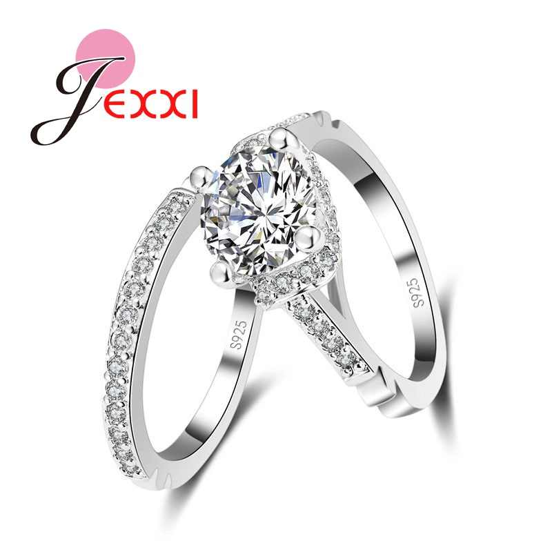 925 Sterling Silver Ring Set For Couples Cubic Zirconia Wedding Finger Ring Sets For Woman Fashion Bridal Ring Set