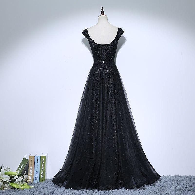 Vintage Negru Mama Rochii de mireasa Aplicatii Margele O linie de - Rochii de seară de nuntă - Fotografie 2