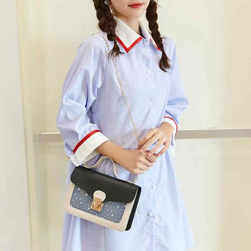 Yeni Şık Sevimli Yıldız Desen Omuz Messenger PU Deri Kadın Küçük Crossbody Çanta Çantası Akşam Parti Paketi Çanta