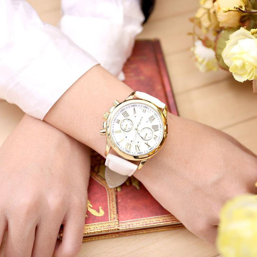 New Women's Fashion  Roman Numerals Faux Leather Analog Quartz Wrist Watch  High quality watches 0717 new watch women hollow out alloy dial clcok faux leather analog quartz watch roman numerals ladies casual wrist watches women