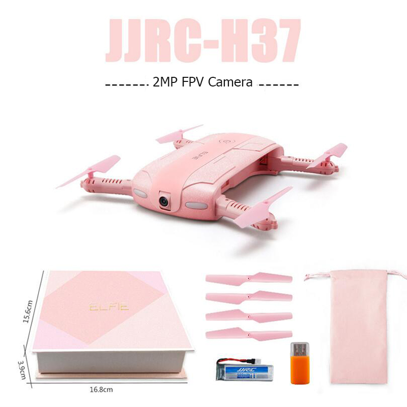 JJRC H37 Elfie Selfie Pink Mini Foldable 2.0MP WIFI FPV Camera Quadcopter Foldable Micro RC Selfie Drone Quadcopter Best Gift 2017 new jjrc h37 mini selfie rc drones with hd camera elfie pocket gyro quadcopter wifi phone control fpv helicopter toys gift