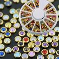 5mm Colorized Alloy Round Nail Art Rhinestone Pearl Wheel Decorations Tool