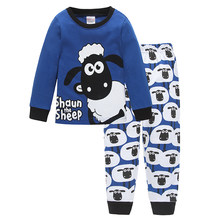 Cute Sheep Children Pajamas Sets Kids Sleepwear suit Sleeved T-Shirts+Trousers Boy clothes Pj's Infant pijama Fashion Tops+Pant(China)