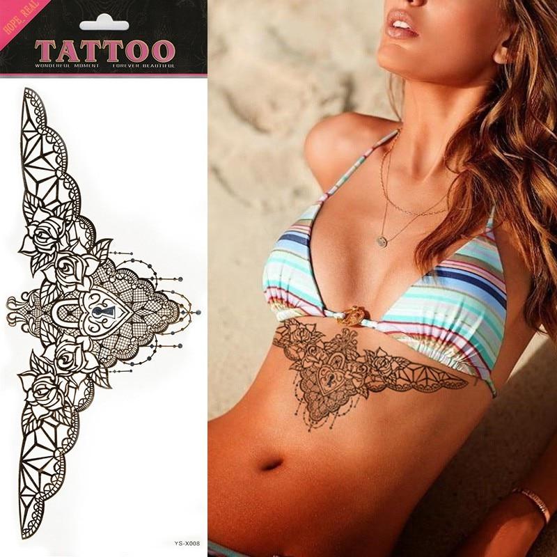 1pcs black flash tattoo chest beast tattoo flower love for Cost of temporary tattoo