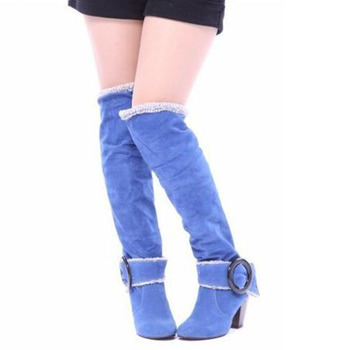 COVOYYAR 2019 Flock Knee High Boots Fashion Buckle Women Boots Thick High Heel Winter Shoes Woman Big Sizes 34~43 WBS105 4