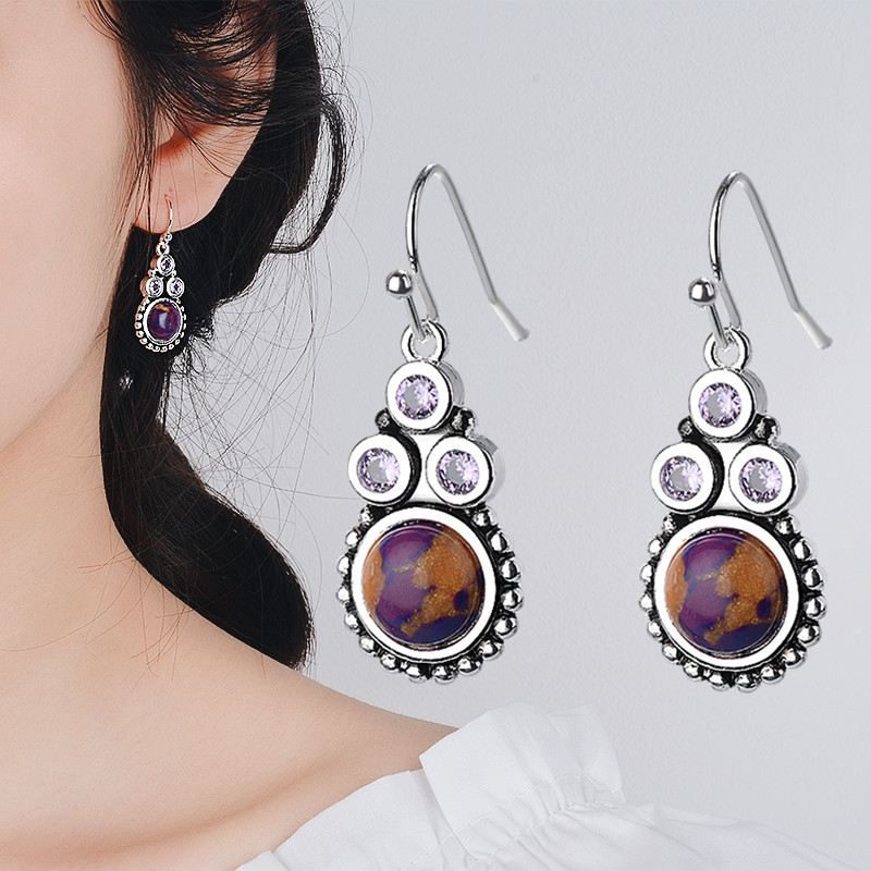 Long Natural Moonstone Purple Stone Earrings Vintage Dangle Wedding Fashion 925 Silver Jewelry Gifts
