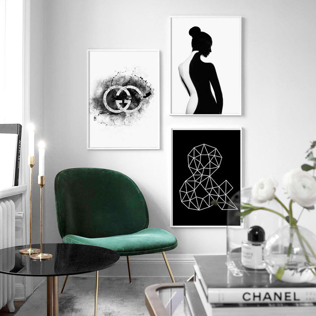 Black White Pairs Sexy Back Girl Geometry Posters 1