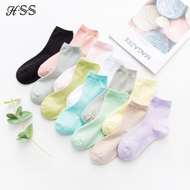 HSS Brand Women's 5 Pairs Candy Color Sweet Cotton Socks High Quality Quick Drying Sneaker Socks For Girls Block Leisure