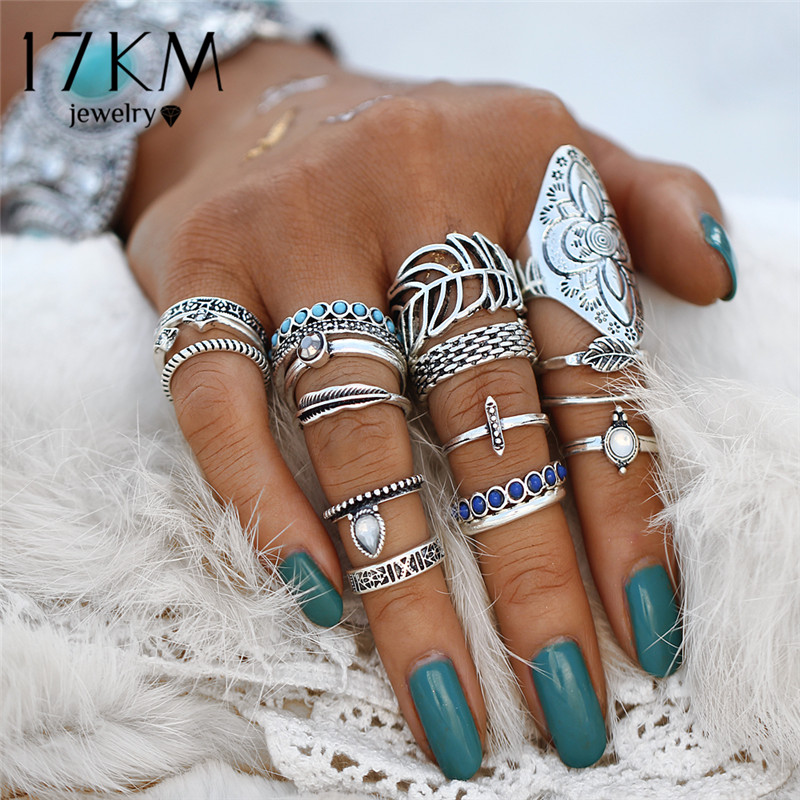 17KM Vintage Flower Leaf Knuckle Midi Ring Sets For Woman Amazing Price Rings Bohemia Stone Anillos Fashion Statement Jewelry