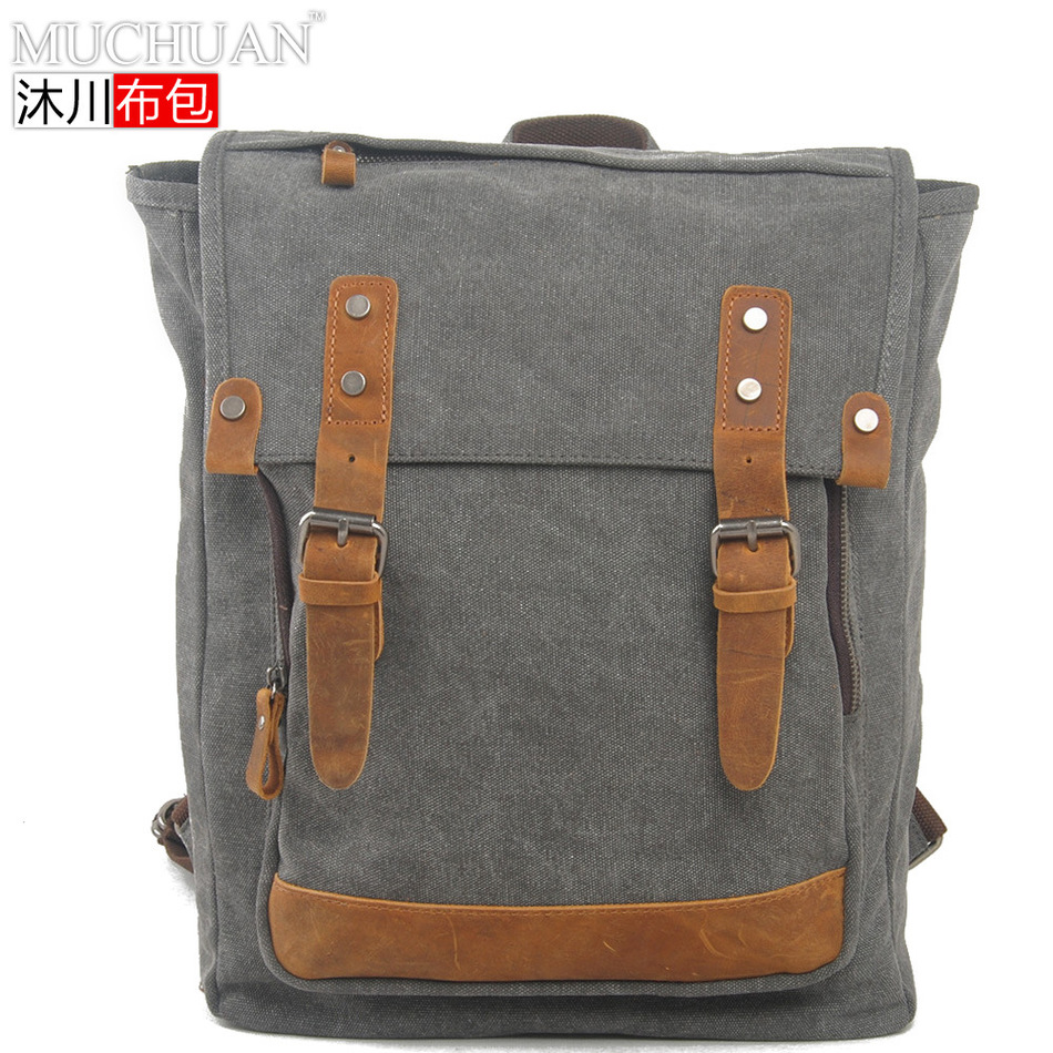 Muchuan Cloth Package European Restore Ways Leisure Cool. Both Package Canvas With The Crazy Horse Leather Personality Backpack  muchuan cloth 2014 european restore ancient ways trend man single shoulder package diagonal package ma am leisure time package