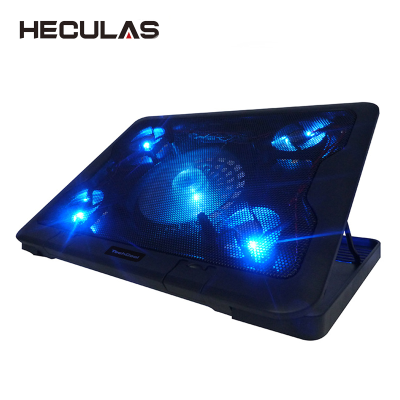 HECULAS Notebook Cooler Laptop Cooling Pad 2 USB Port Adjustable Stand Cooling fans With 5 Powerful Fans for 11 to 15.6 Laptop cooling pad for laptop aluminum cooling laptop stand fan cooler 2 uab port base support 5 fans led for 12 15 15 6 17 inch