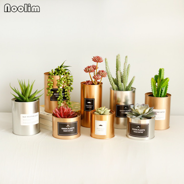 NOOLIM Tinplate Metal Flower Pot Succulent Creative Painting Iron Storage Container Metal Crafts Home Tabletop Decoration