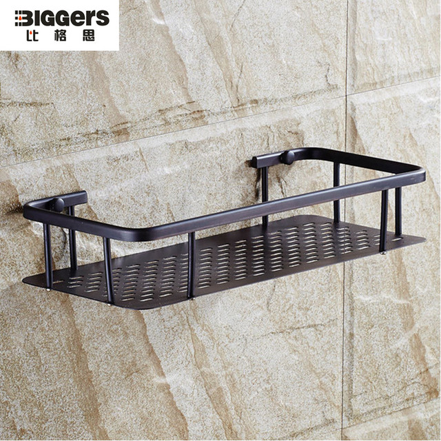 Free Shipping Luxury Europe Style Black Bronze Single Copper Bathroom Wall Shelf Shower Dryer Rack 33x14cm