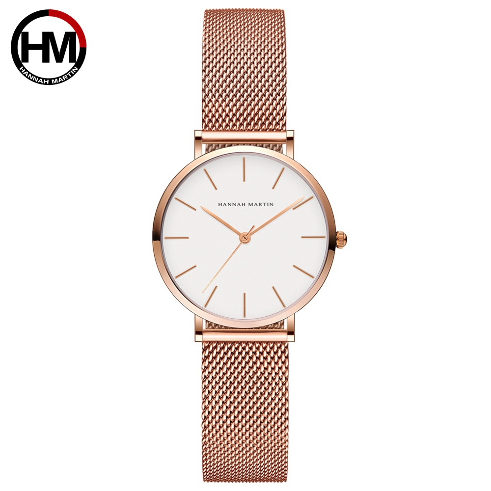 Image 3 - Hannah Martin Fashion Casual Women Watches Rose Gold Simple Ladies Watches Quartz Wristwatches relogio feminino Clock Gift Box-in Women's Watches from Watches