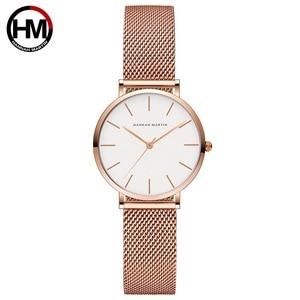 Image 3 - Hannah Martin Fashion Casual Women Watches Rose Gold Simple Ladies Watches Quartz Wristwatches relogio feminino Clock Gift Box