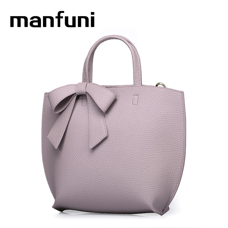 MANFUNI Handbags For women Luxury 100% Real Leather Elegant Dress Tote Shoulder Bags Genuine Leather crossbody bags Bow pendant