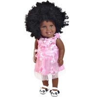 New Arrival Baby Girl Reborn Dolls Kids Toy Black Girl Dolls African American Play Dolls Lifelike 45cm Baby Play Toys MJ1214