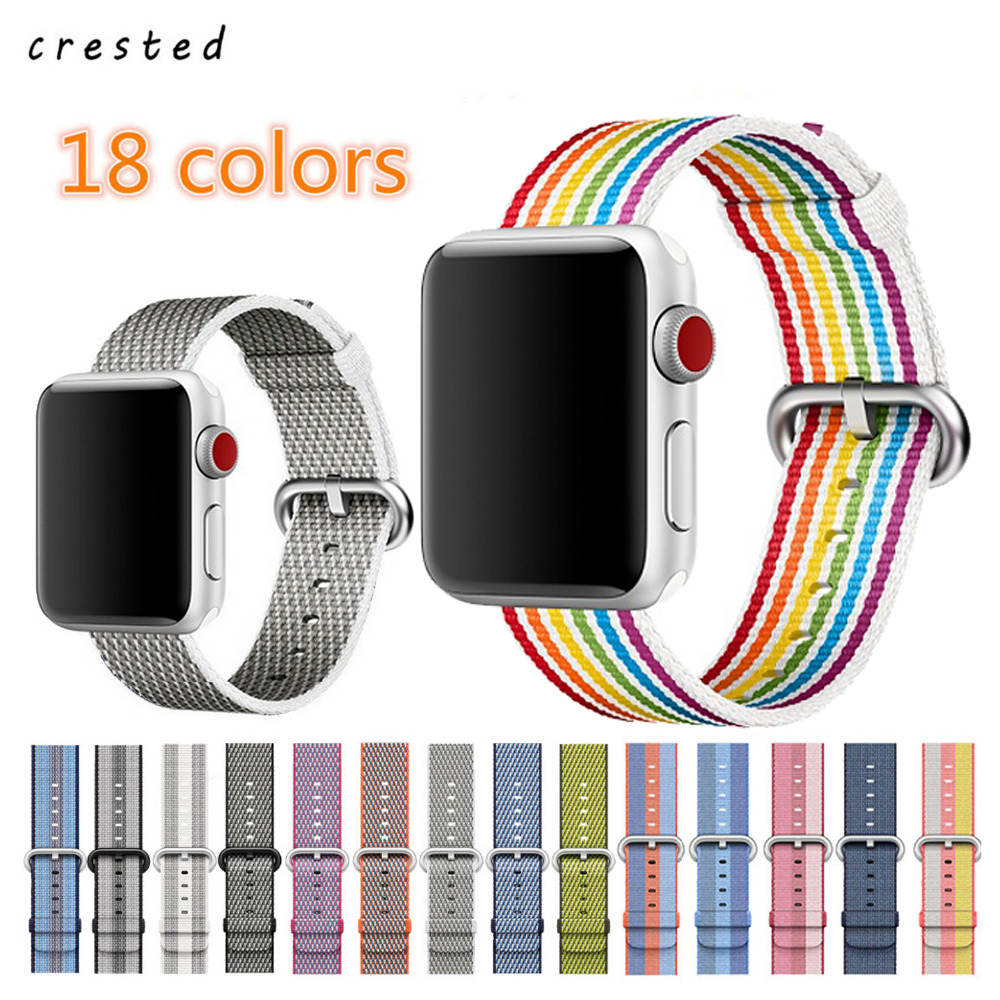 CRESTED Intrecciata cinturino In Nylon Per Apple Watch band 42mm 38mm  braccialetto cinturino da polso per iwatch apple osservare serie 3 2 1  orologio ... a971b25d75b