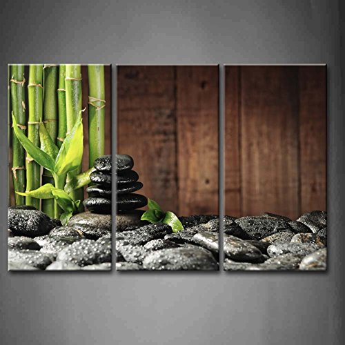 3 pieces sets of green bamboo and black stone art wall decoration home decoration canvas canvas printing framed XJDC12 96 in Painting Calligraphy from Home Garden
