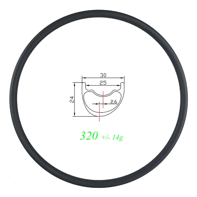 Super light 320g 29er MTB XC 30mm asymmetric 24mm deep offset carbon rim 28 hole