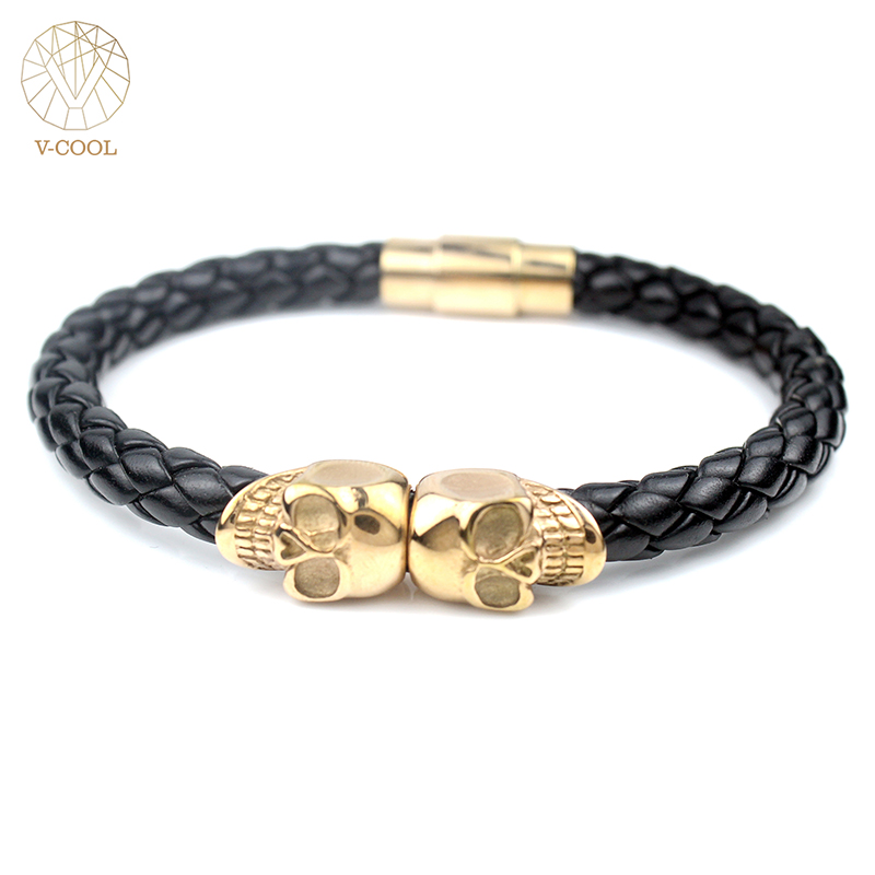 VCOOL Magnet Punk Rock Men Christmas Gift Jewelry Leather Rose Gold Skeleton Men Charm Skull Bracelet Stainless Steel VB372/2