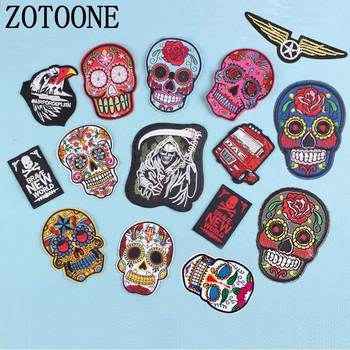ZOTOONE Skull Punk Military Car Letter Patch Rock 1pc Applique Badge Iron on Embroidered Biker Patch for Clothes Stickers Jeans image
