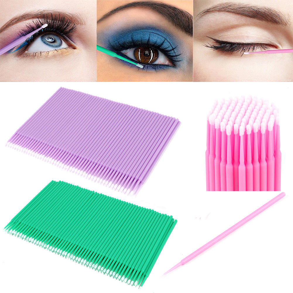 100pcs Disposable Colorful Cotton Swabs Eyelash Brushes Cleaning Swab Hot Natural Eyelashes Remover Swab Microbrush Kit