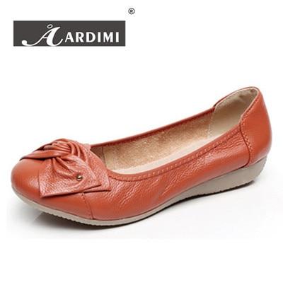 Más el tamaño 35-43 zapatos de las mujeres bowtie planos del ballet de cuero gen
