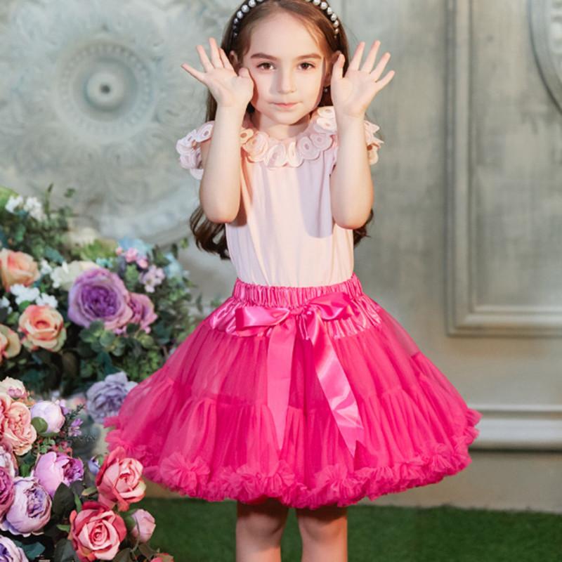 1 10 Years Old Children 39 s Solid Color Mesh Tutu Skirts For Girls Team Dance Princess Pettiskirt Birthday Party Veil Ball Gown in Skirts from Mother amp Kids