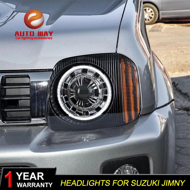 Car Styling Head Lamp case for Suzuki Jimny 2007-2015 Headlights LED Headlight DRL Lens Double Beam Bi-Xenon HID car styling head lamp case for subaru forester 2008 2009 headlights led headlight drl lens double beam bi xenon hid