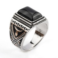 Real 925 Sterling Silver Setting Black Big Stone Rings for Men Finger Ring Jewelry