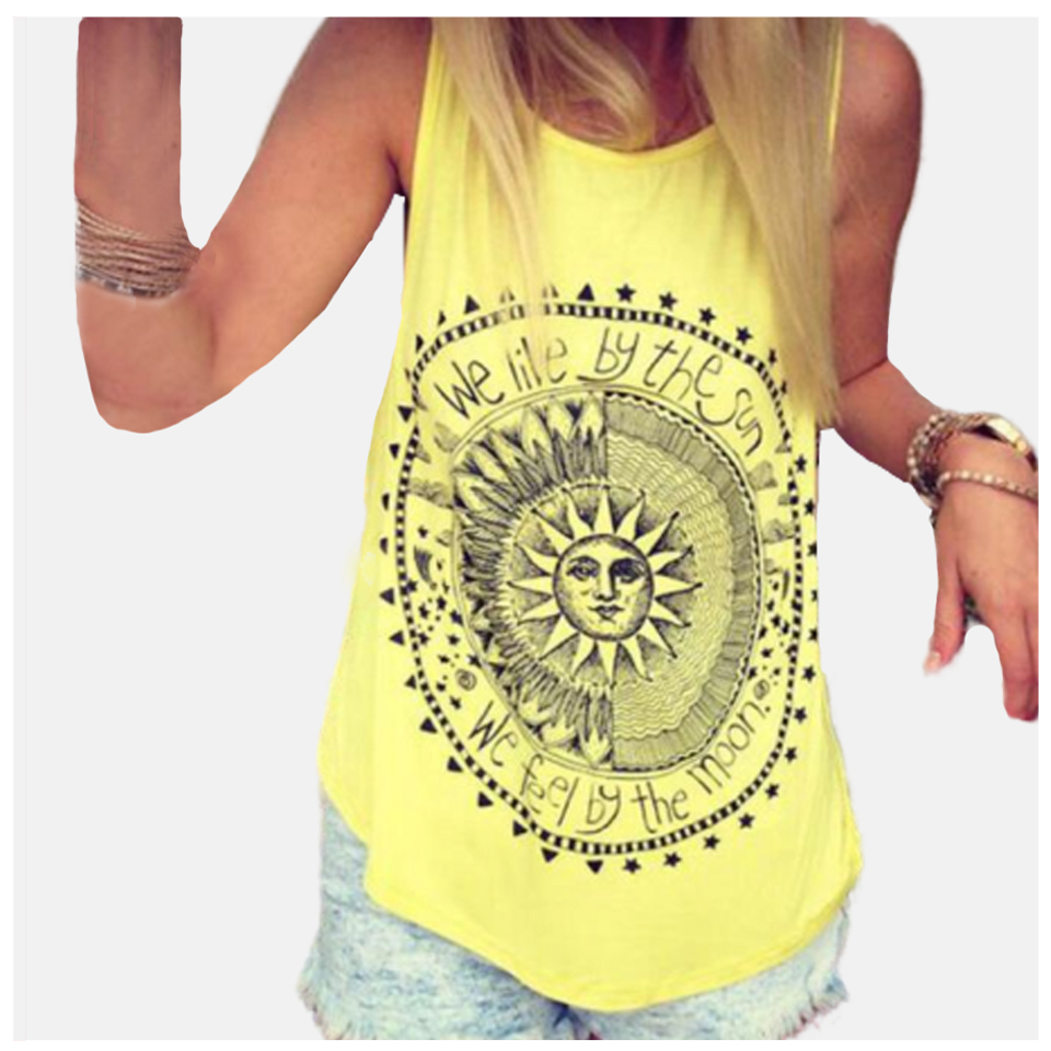 Yellow Top <font><b>Debardeur</b></font> <font><b>Femme</b></font> <font><b>Sexy</b></font> Knit Sleeveless Basic White Top Women Festival Rave Sun And Moon Top Galaxy Clothes Dames Vest image