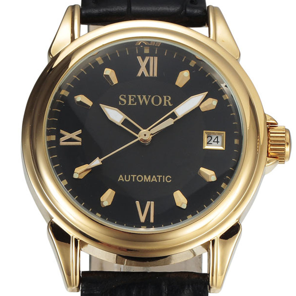 SEWOR Business Gold Automatic Watches Men Auto Date Calendar Leather Band Clock Roman Dial Mens Mechanical Dress Wristwatches все цены