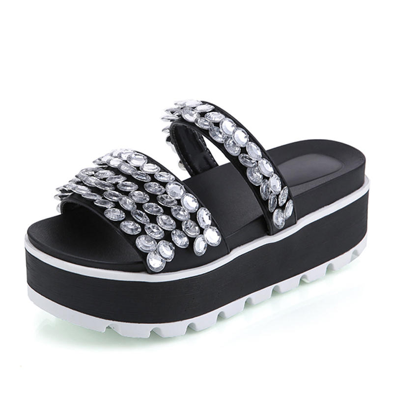 LANSHULAN Summer Crystal Slippers Platform Creepers Slip On Rhinestone Shoes Woman Beach Flip Flops Casual Women Flats Shoes lanshulan wedges gladiator sandals 2017 summer peep toe platform slippers casual glitters shoes woman slip on flats creepers