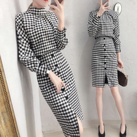 Trendy Plaid Crop Top And Skirt Set Woman Suit Stylish Ensemble Femme Deux Pieces Ol Conjunto Feminino Year old Female Costume
