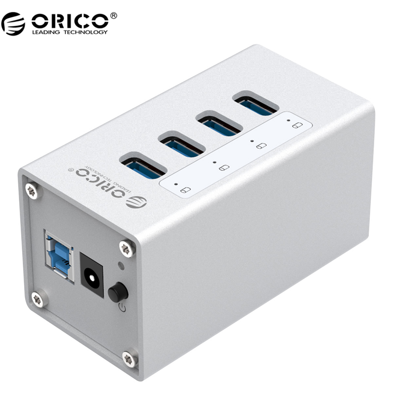 ORICO A3H4 High Quality Powerd 4 Port Aluminum USB 3.0 HUB For Laptop - Silver