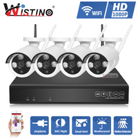 Wistino HD 1080P CCTV System 4CH NVR Kit Wireless P2P Outdoor IR Night Vision Security 4PCS