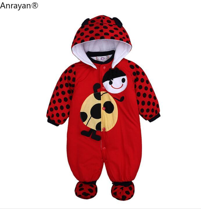 2019 NEW Autumn Winter Baby Girls Boys   Rompers   Cartoon Cute Thick Warm Hooded Jumpsuits Newborn Clothes Infant Clothing